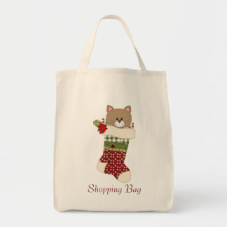 Country Christmas Cat Kitten Stockings - add text Tote Bags