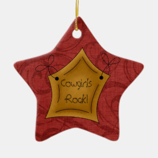 Country Christmas Cowgirls Rock Star Ceramic Star Decoration