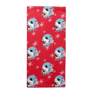 Country Christmas Cows With Santa Hats Cloth Napkins
