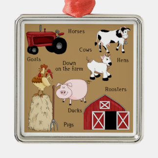 Country Christmas Farm Animals Silver-Colored Square Decoration