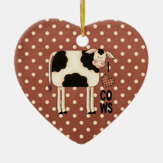 Country Christmas I Love Cows Ceramic Heart Decoration