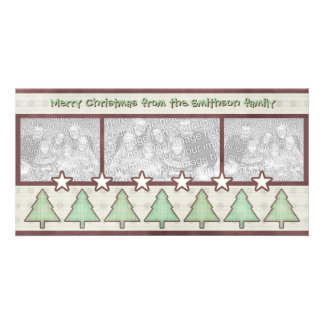 Country Christmas Plaid Trees Stars Photo Card