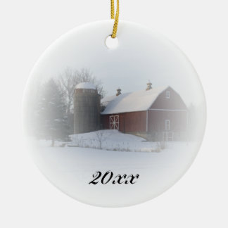 Country Christmas Red Barn Dated Christmas Ornament