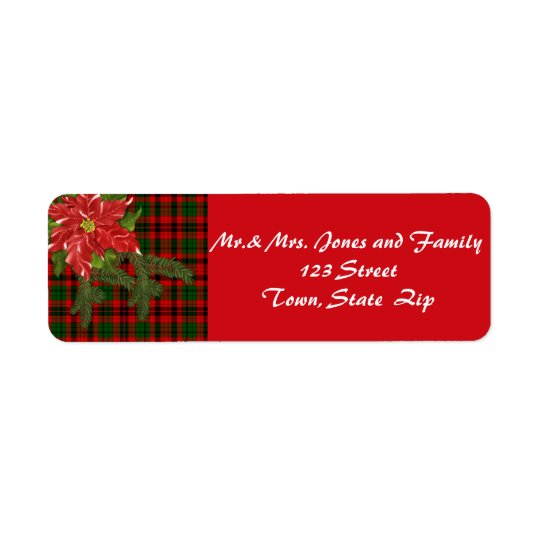 Country Christmas, Red Plaid, Poinsettia Labels