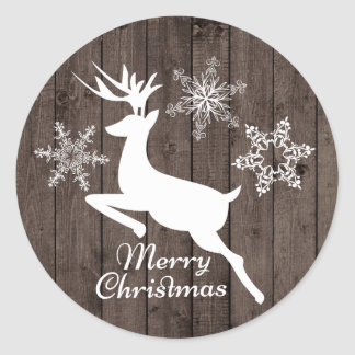 Country Christmas reindeer Holiday sticker