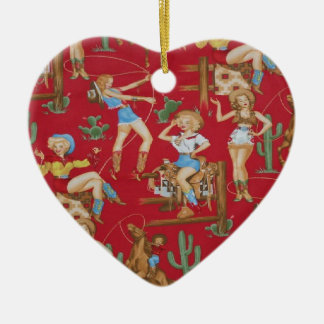 Country Christmas Retro Cowgirls Ceramic Heart Decoration