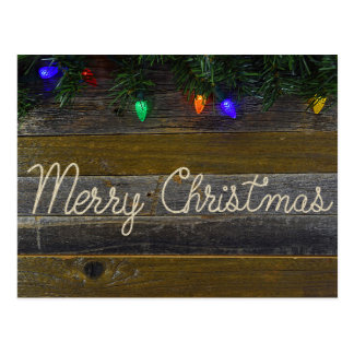 country Christmas rope with lights Postcard