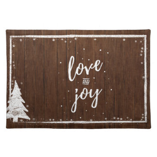 Country Christmas | Rustic Wood Snow Love & Joy Placemat