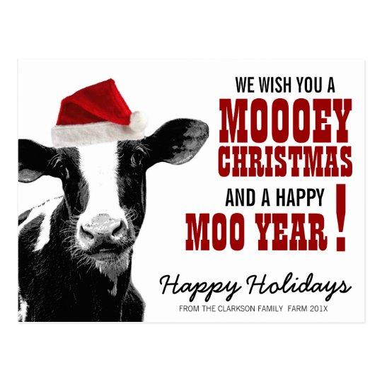 Country Christmas Santa Cow Postcard