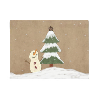 Country Christmas Tree Door Mat