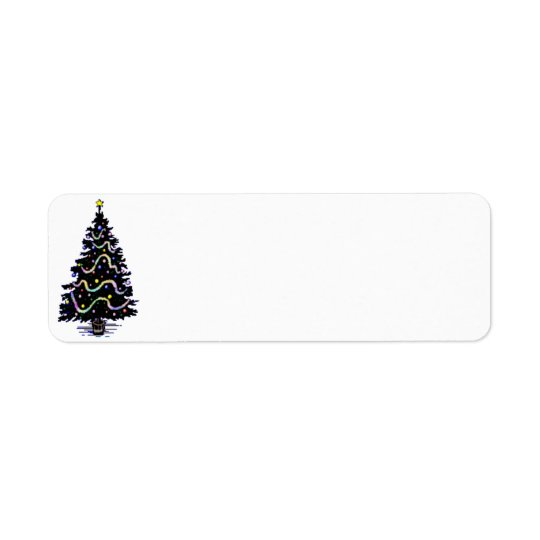 Country Christmas Tree Label Return Address Label