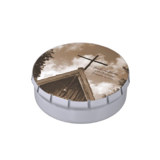 Country Church Candy Tin, Anniversary Party Favor Jelly Belly Tin