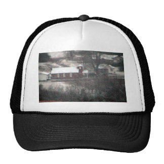 Country Church In A Snowstorm. Trucker Hats
