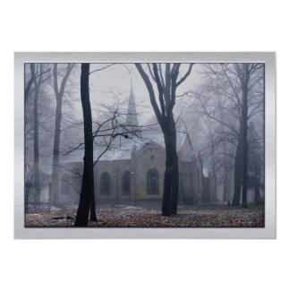 Country Church in the Lavender Mist & Fog 13 Cm X 18 Cm Invitation Card