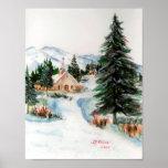 Country Church in Winter Watercolor Mountain Scene