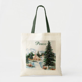 Country Church in Winter Watercolor Mountain Scene Budget Tote Bag