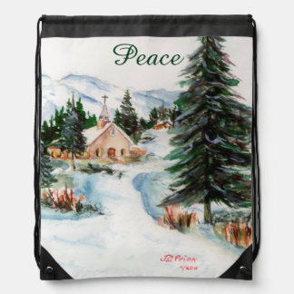 Country Church in Winter Watercolor Mountain Scene Drawstring Backpack