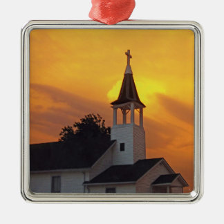 Country Church Silver-Colored Square Decoration