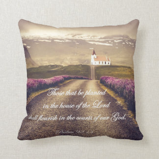 Country Church with Psalms Bible Verse Cushion