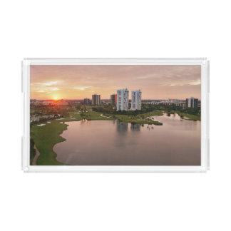 Country Club at sunset, Aventura, Florida Acrylic Tray