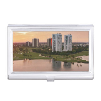 Country Club at sunset, Aventura, Florida Business Card Holder