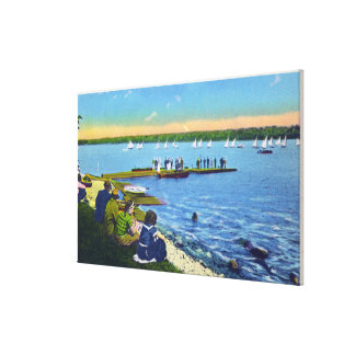 Country Club View of Sailboat Regatta # 2 Gallery Wrapped Canvas