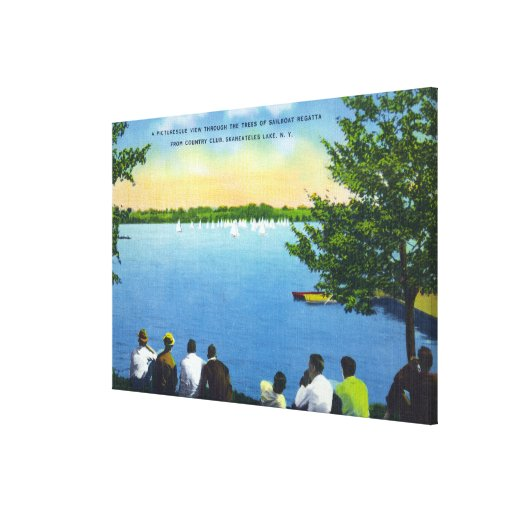 Country Club View of Sailboat Regatta on Lake Canvas Print
