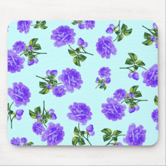 Country cottage purple roses blue mousepad