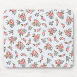 Country cottage roses pink floral pattern mouse pad