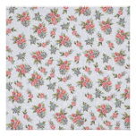 Country cottage roses pink floral pattern poster