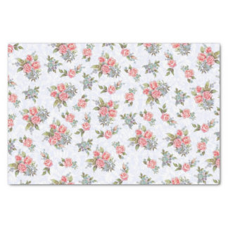 Country cottage vintage roses pink floral pattern tissue paper