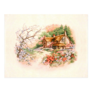Country Cottage with Flowers Postcard