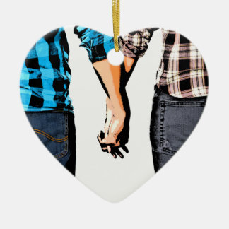 Country Couple Boy and Girl Holding Hands Ceramic Heart Decoration