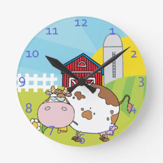 Country Cow Design Round Clock