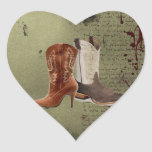 Country Cowboy Boots Western Wedding Favour Heart Sticker