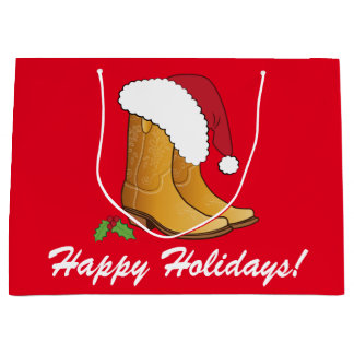 Country Cowgirl Hat Boots Happy Holidays Large Gift Bag
