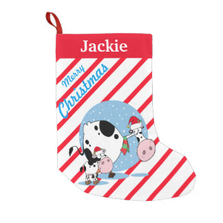Country Cows With Santa Hats Christmas Stocking
