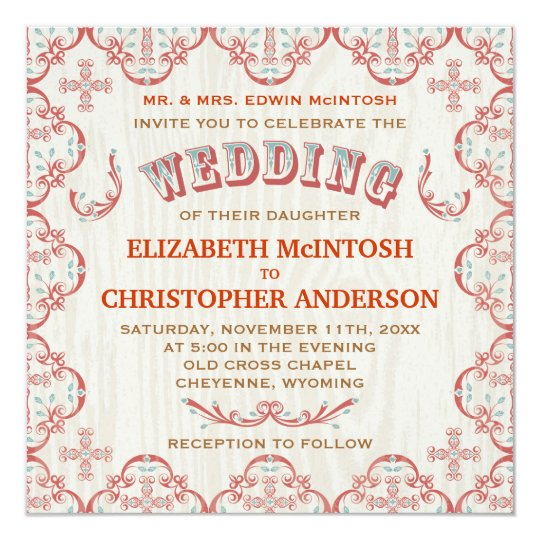 Country Cross Wedding Invitation
