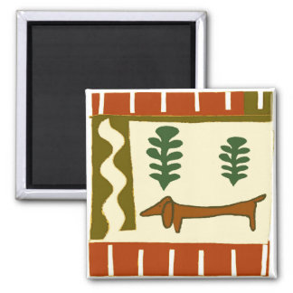 Country Dachshund Square Magnet