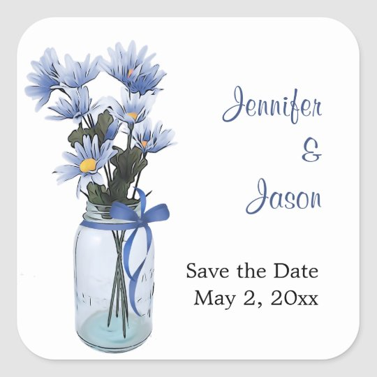 Country Daisies Mason Jar - Save the Date