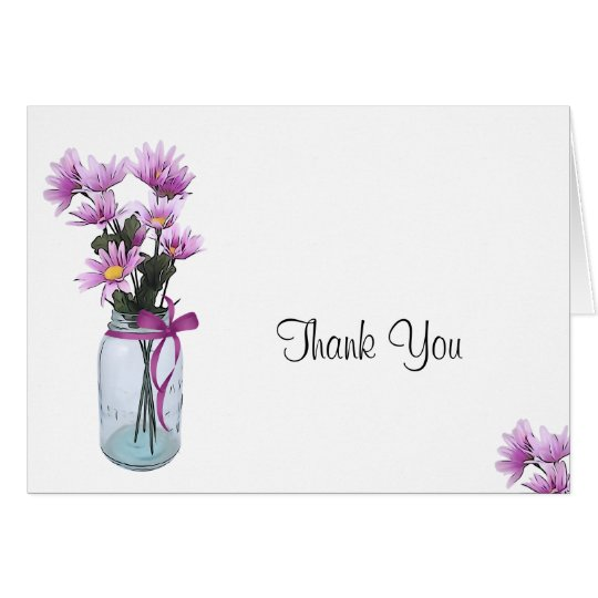 Country Daisies Mason Jar - Thank You Card