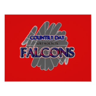 Country Day Falcons - Fort Worth, TX 11 Cm X 14 Cm Invitation Card