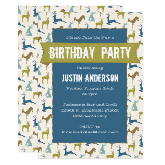 Country Deer Birthday Party 13 Cm X 18 Cm Invitation Card