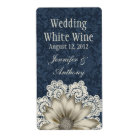 Country Denim & Ivory Lace Wedding Mini Wine