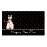 Country Dressed White Cat Business Cards