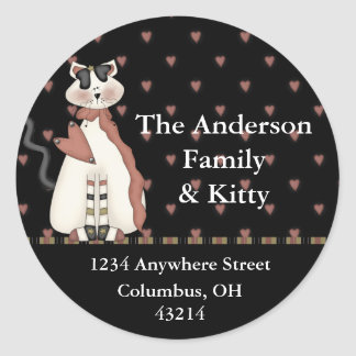 Country Dressed White Cat Return Address Labels Round Sticker
