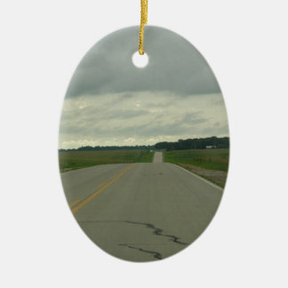 Country Driving - Long Road - Green Grass Ceramic Oval Decoration