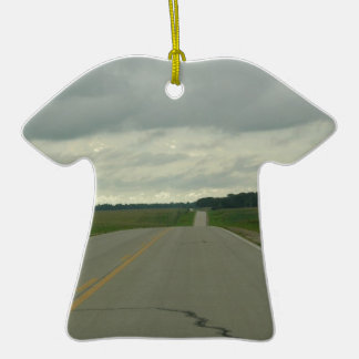 Country Driving - Long Road - Green Grass Ceramic T-Shirt Decoration