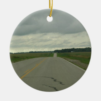 Country Driving - Long Road - Green Grass Round Ceramic Decoration