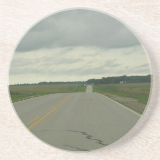 Country Driving - Long Road - Green Grass Sandstone Coaster